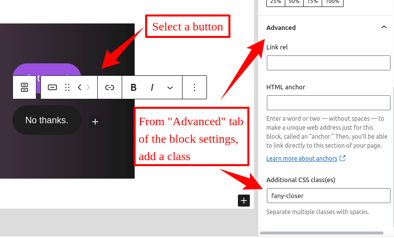 close a Float Any panel with a button inside the content
