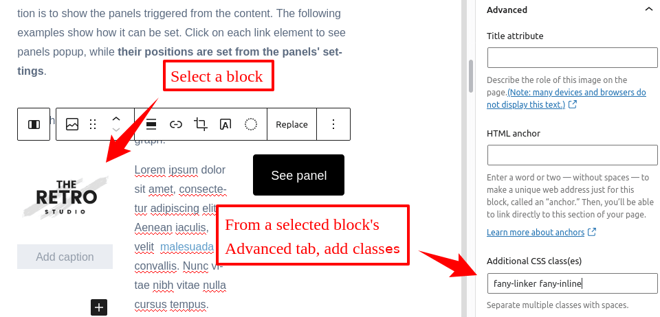 Setting a Float Any panel inline by adding a class to the WordPress' image block