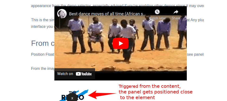 Panel set inline to the triggering block
