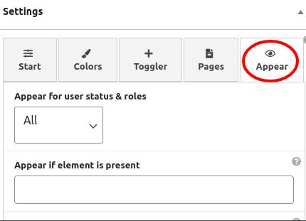 Float any settings - appearance tab
