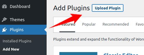 Upload a plugin through the WordPress interface
