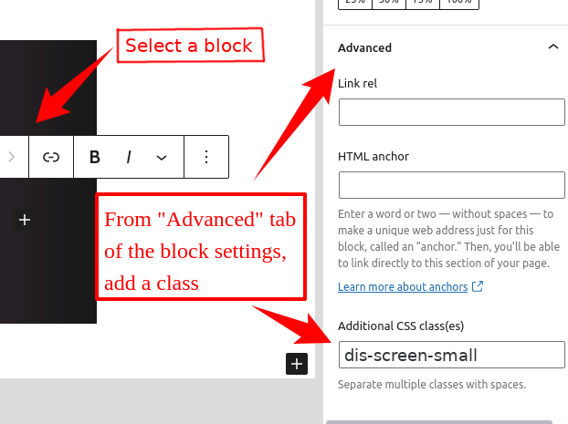 WordPress block - disable for small screen