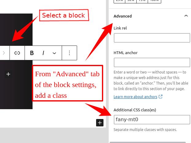 WordPress block - add styling class